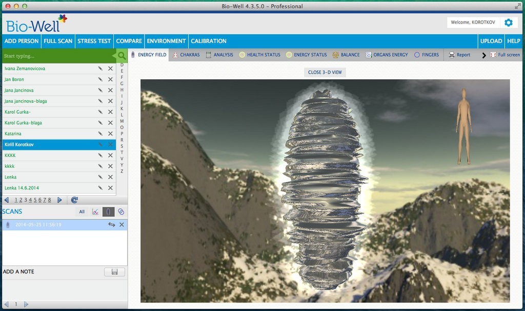 Bio-Well Software - 3D view