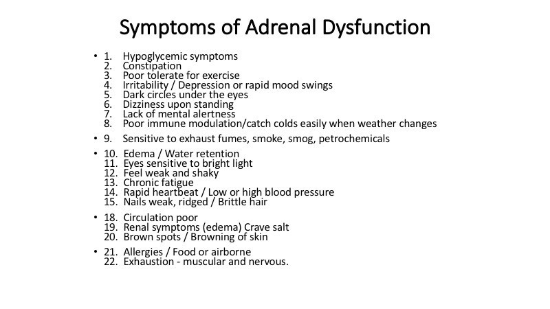 Symptoms of Adrenal Dysfunction